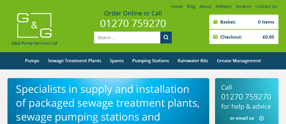 New Magento Ecommerce Website For G and G Pumps
